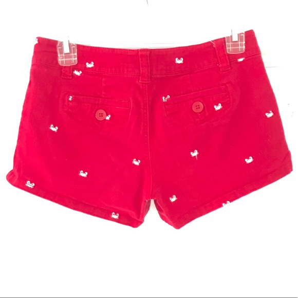 Red Shorts with White Crabs Size 3